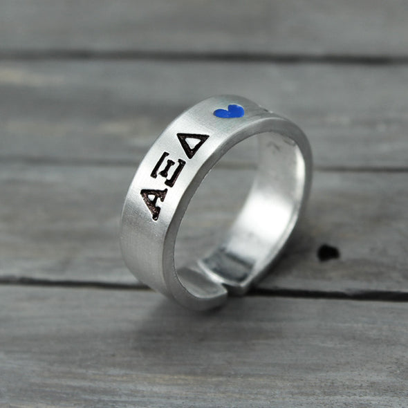 Alpha Xi Delta Heart Ring - Pure Impressions Design - 3