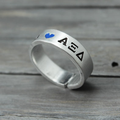 Alpha Xi Delta Heart Ring - Pure Impressions Design - 1