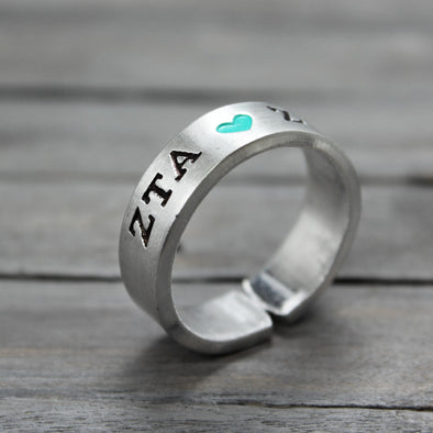 Zeta Tau Alpha Heart Ring - Pure Impressions Design - 1