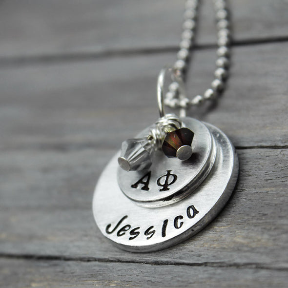 Alpha Phi Stacked Necklace - Pure Impressions Design - 1