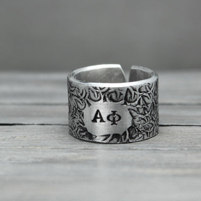 Alpha Phi Floral Textured Ring - Pure Impressions Design - 1