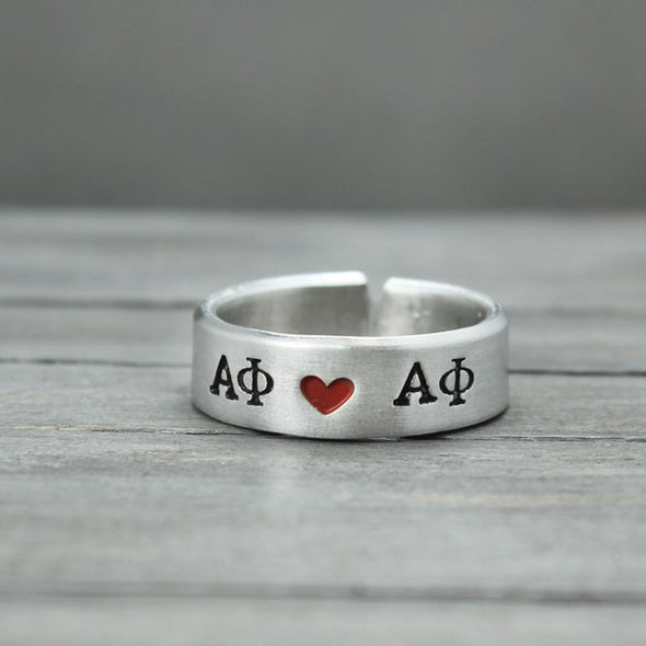 Alpha Phi Heart Ring - Pure Impressions Design - 1