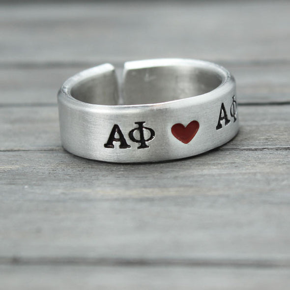 Alpha Phi Heart Ring - Pure Impressions Design - 2