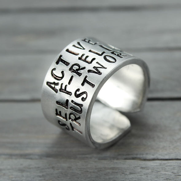 Alpha Sigma Tau Motto Ring - Pure Impressions Design - 1