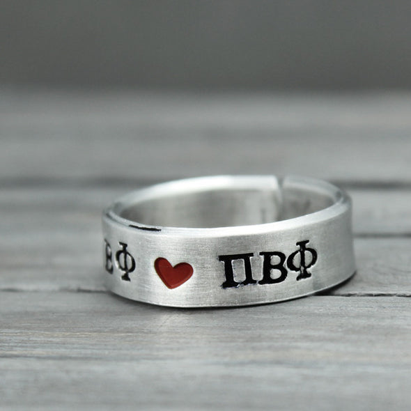 Pi Beta Phi Heart Ring - Pure Impressions Design - 3