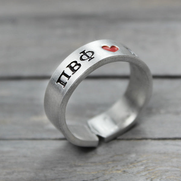 Pi Beta Phi Heart Ring - Pure Impressions Design - 1