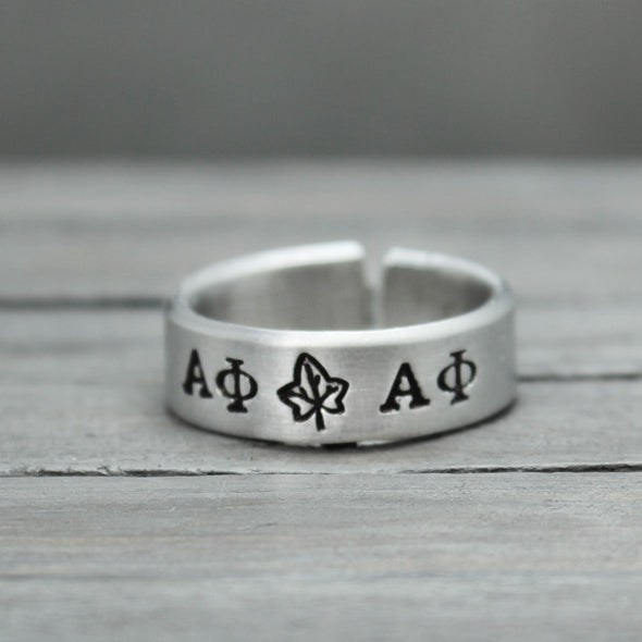 Alpha Phi Ivy Ring - Pure Impressions Design - 2