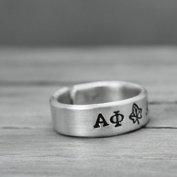 Alpha Phi Ivy Ring - Pure Impressions Design - 3