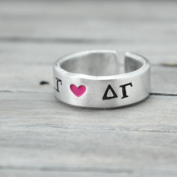 Delta Gamma Heart Ring - Pure Impressions Design - 2