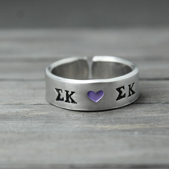 Sigma Kappa Heart Ring - Pure Impressions Design - 2