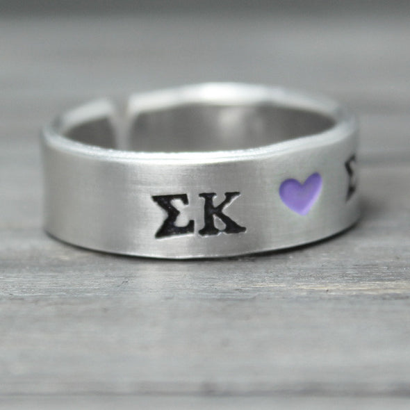 Sigma Kappa Heart Ring - Pure Impressions Design - 3