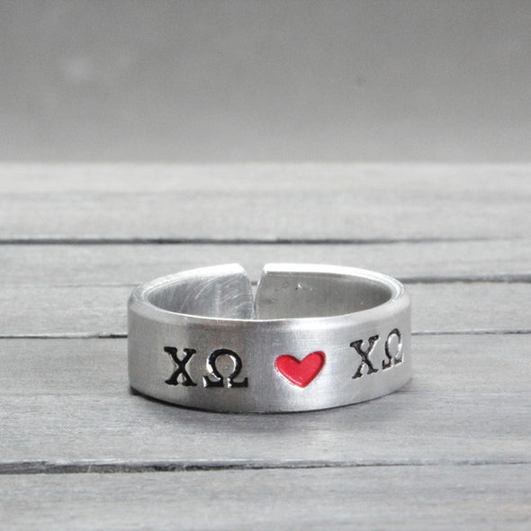 Chi Omega Heart Ring - Pure Impressions Design - 2