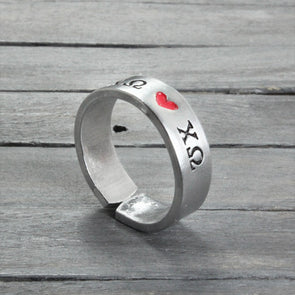 Chi Omega Heart Ring - Pure Impressions Design - 1