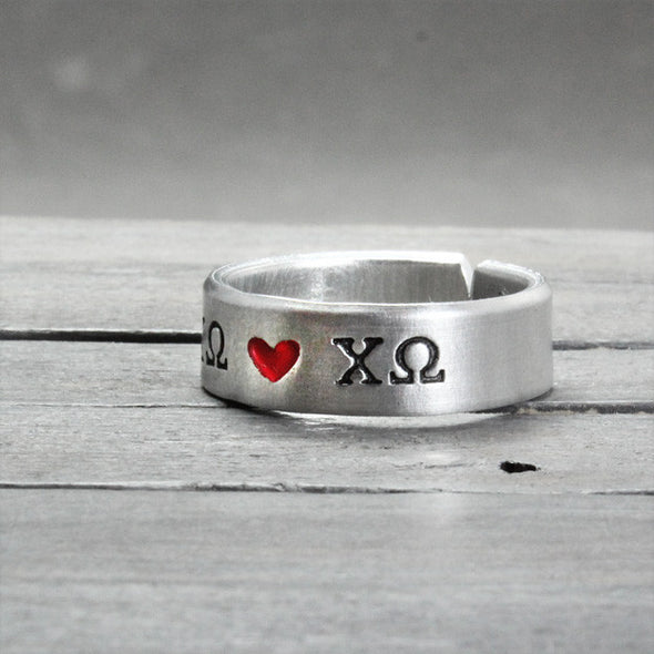 Chi Omega Heart Ring - Pure Impressions Design - 3