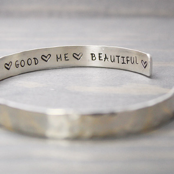 Sterling Silver Hammered I Am Inspiration Cuff - Pure Impressions Design - 3