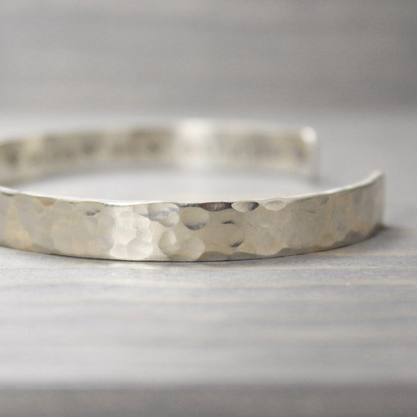 Sterling Silver Hammered I Am Inspiration Cuff - Pure Impressions Design - 4
