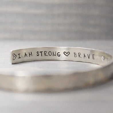 Sterling Silver Hammered I Am Inspiration Cuff - Pure Impressions Design - 1