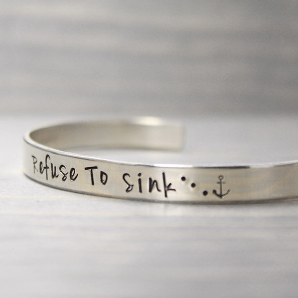 Sterling Silver Refuse To Sink Cuff - Pure Impressions Design - 3