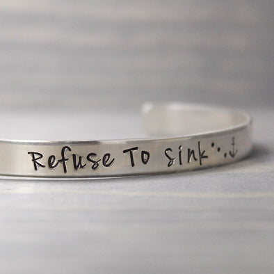 Sterling Silver Refuse To Sink Cuff - Pure Impressions Design - 1