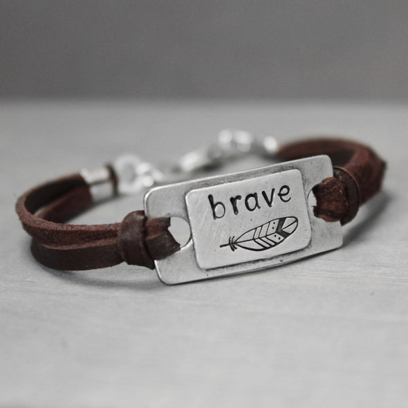 Leather Brave Pewter Bracelet - Pure Impressions Design - 1