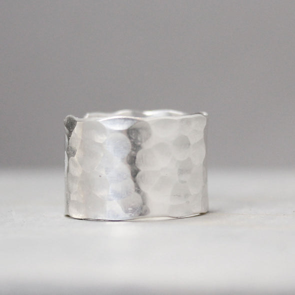 Hammered Feather Ring Wide - Pure Impressions Design - 3