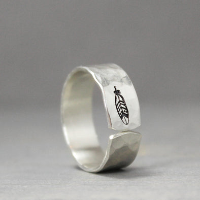 Silver Hammered Feather Ring Thin - Pure Impressions Design - 1