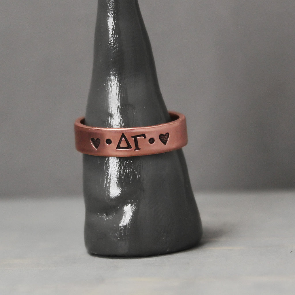 Delta Gamma Thin Copper Ring - Pure Impressions Design - 1