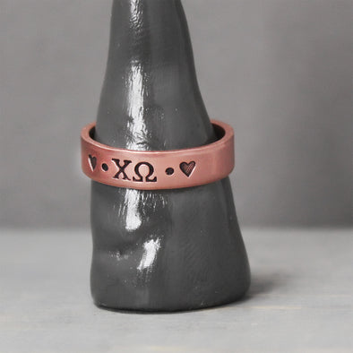 Chi Omega Thin Copper Ring - Pure Impressions Design - 1