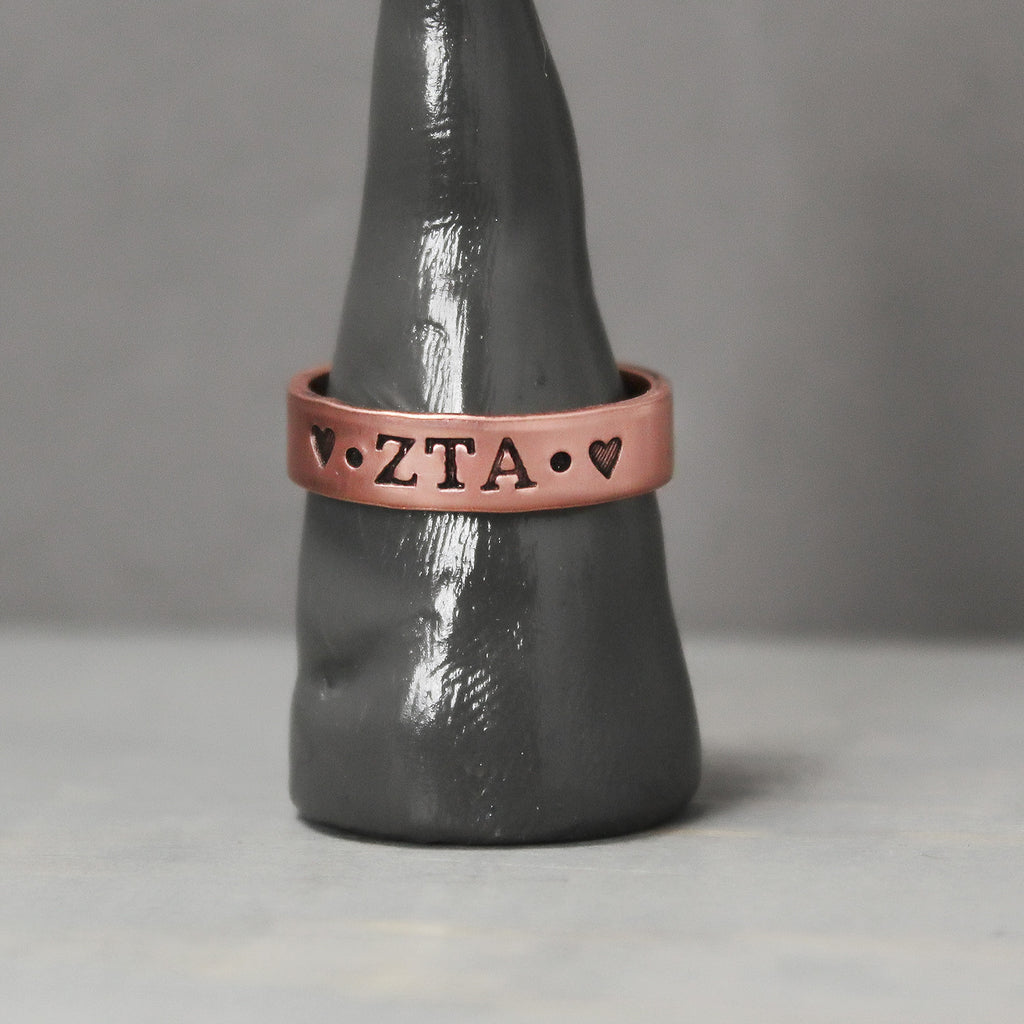 Zeta Tau Alpha Thin Copper Ring - Pure Impressions Design - 1
