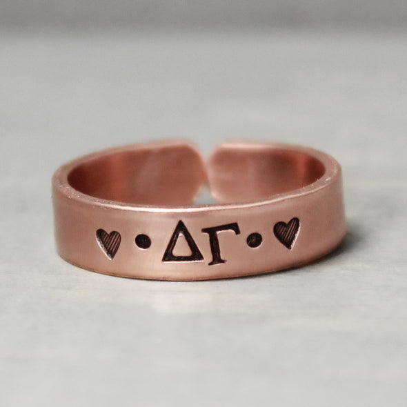 Delta Gamma Thin Copper Ring - Pure Impressions Design - 2