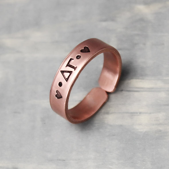 Delta Gamma Thin Copper Ring - Pure Impressions Design - 3