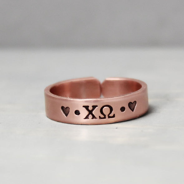 Chi Omega Thin Copper Ring - Pure Impressions Design - 4