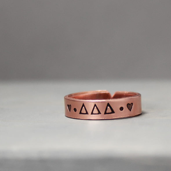 Delta Delta Delta Thin Copper Ring - Pure Impressions Design - 2