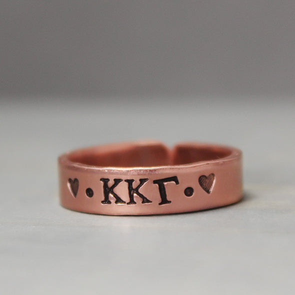 Kappa Kappa Gamma Thin Copper Ring - Pure Impressions Design - 2
