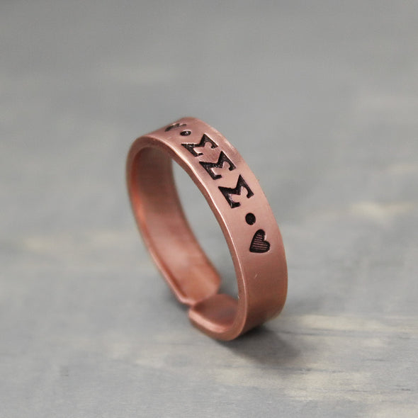 Sigma Sigma Sigma Thin Copper Ring - Pure Impressions Design - 2