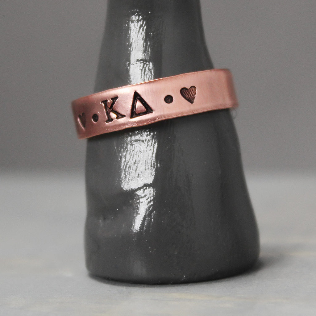 Kappa Delta Thin Copper Ring - Pure Impressions Design - 1