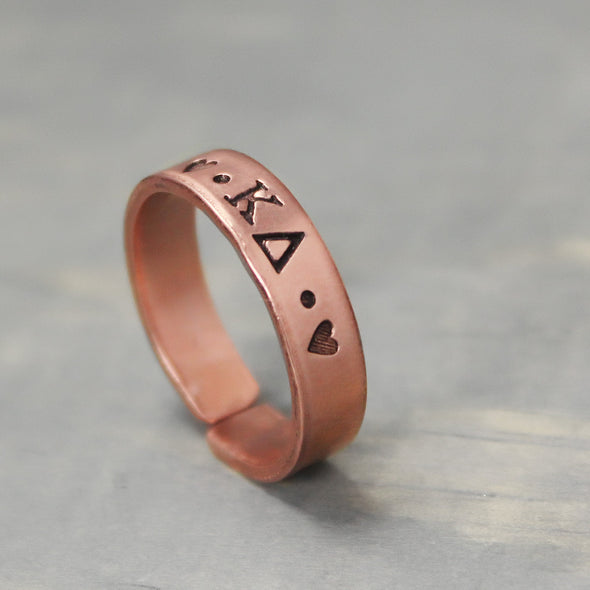 Kappa Delta Thin Copper Ring - Pure Impressions Design - 2