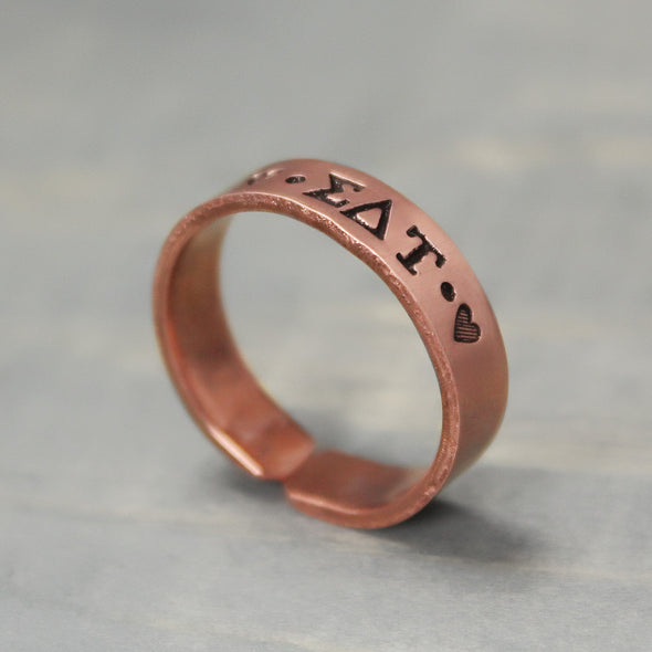 Sigma Delta Tau Thin Copper Ring - Pure Impressions Design - 2