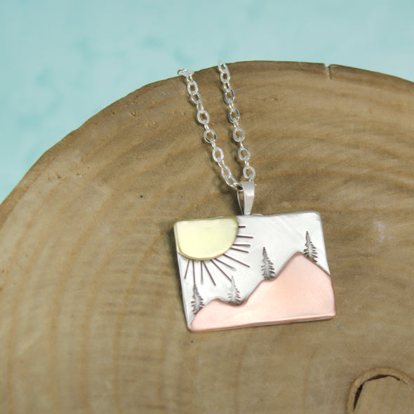Rectangle Sunburst Mountain Pendant