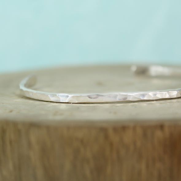 Thin Hammered Silver Cuff
