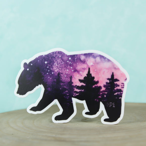Purple and Pink Vinyl Bear Sticker with blue background