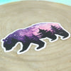 Purple and Pink Vinyl Bear Sticker with wood background
