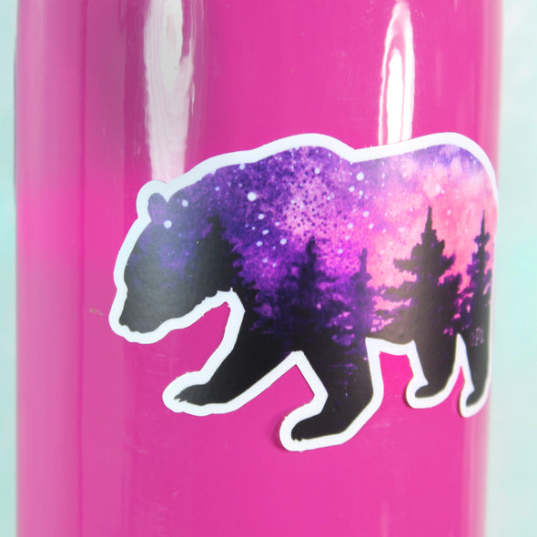 Purple and Pink Vinyl Bear Sticker on pink water bottle