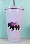 Purple and Pink Vinyl Bear Sticker on purple tumbler