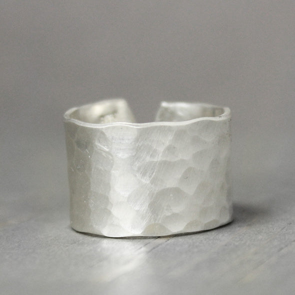 Wide Hammered Sterling Silver Ring - Pure Impressions Design - 2