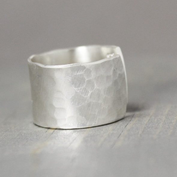 Wide Hammered Sterling Silver Ring - Pure Impressions Design - 3