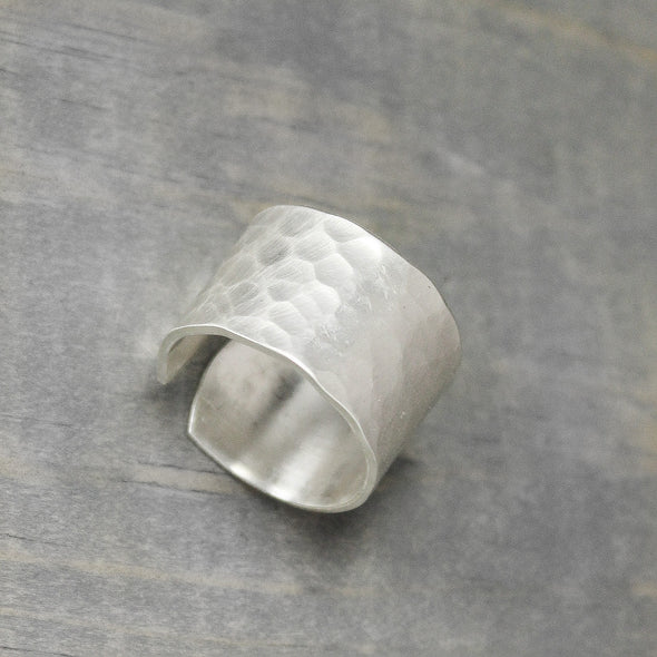 Wide Hammered Sterling Silver Ring - Pure Impressions Design - 4