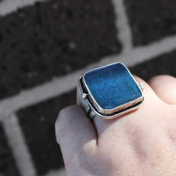 Square Blue Azurite Ring