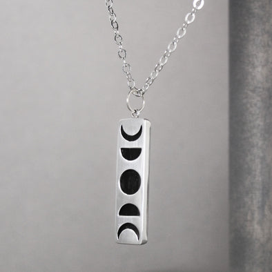 Silver & Wood Moon Phase Pendant