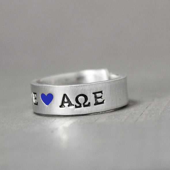 Alpha Omega Epsilon Ring - Pure Impressions Design3